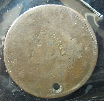 1 Coronet Large Cent - Cull-Hole   P-215