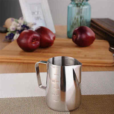 Milk Coffee Pitcher Latte Espresso Frothing Stainless Steel Scale Jug 350/ 900ml