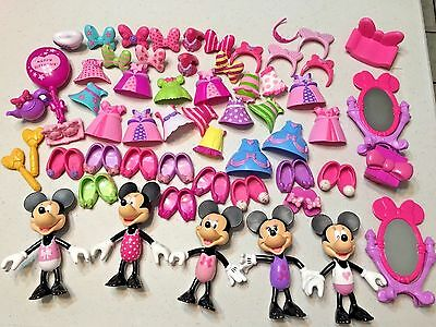 """Disney MINNIE MOUSE SNAP & Style Boutique Lot 5"""" Dolls Outfits Bows Accessories"""