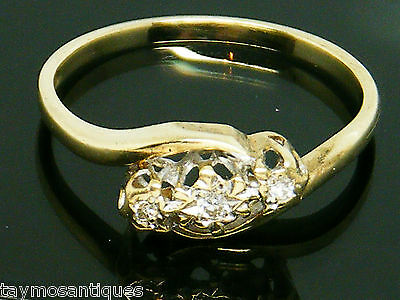 9k Gold 9ct Gold Diamond trilogy ring size O Boxed & Hallmarked