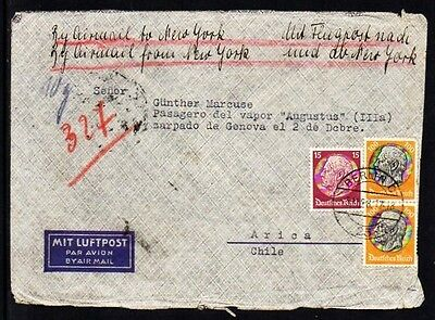 """CURRENCY CENSOR, Germany 1936 to Chile, """"alcance"""" to Augustus ship on Arica"""