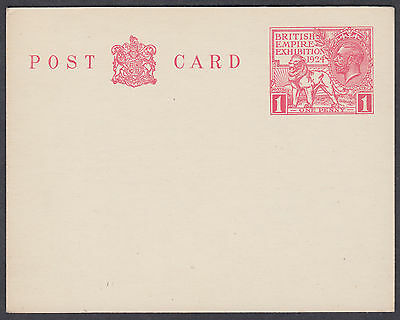 1924 British Empire Exhibition 1d red Stationery Postcard; Mint; CP85