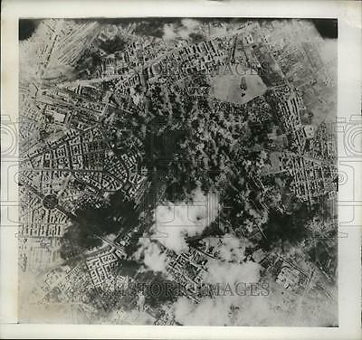 1943 Press Photo Aerial View of Bombing at Bologna Railway Yards, italy