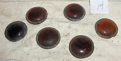 """Vintage Stained Glass Rounds x 6 Amber Yellow color 1 1/2""""  Lot 14"""