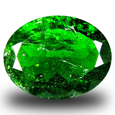 7.86 ct  First-class Oval Shape (15 x 12 mm) Green Chrome Diopside Gemstone