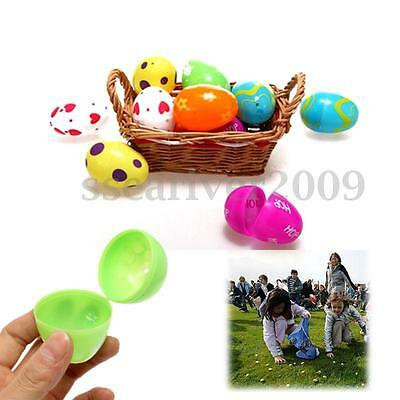 12Pcs Plastic Colorful Easter Eggs Empty Fillable Egg Kid Gift Toy Decoration