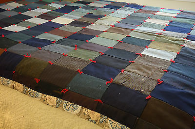 Vintage Handmade Quilt 60 x 86 Wool and Blend Fabrics Cottage Country Cabin