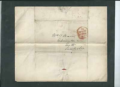 GB 1840 QV WAX SEALED LETTER &  ENVELOPE  TO LOUTH 15th FEB  1840