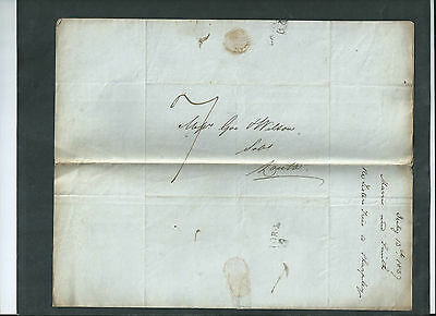 GB 1837 QV WAX SEALED LETTER & ENVELOPE  TO LOUTH POSTMARK 13th JULY 1837