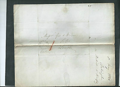 Gb 1840 Qv Wax Sealed Letter &  Envelope  To Louth Postmark Horncastle
