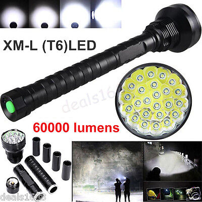 60000LM XM-L T6 LED Flashlight 5 Modes Torch 26650/18650 Camping Lamp Light