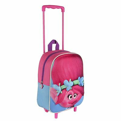 Children Trolls 3D Effect Face Poppy Trolley Bag Outdoor Travel Carry On Luggage