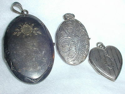 Wow! 3 Old Sterling And Silver Locket Pendants- Estate Fresh!
