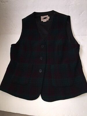 Woolrich Vintage Vest Wool Plaid USA Made Back Belt Rare