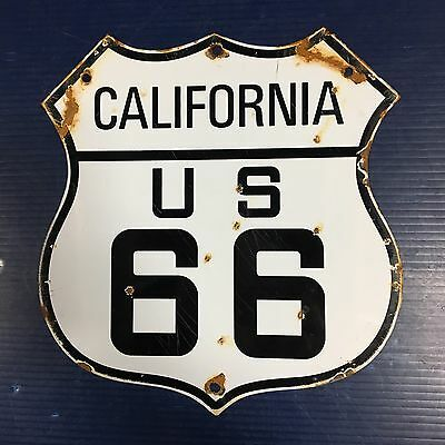 Porcelain Sign Route Rt US 66 state of California Road Highway Metal Marker