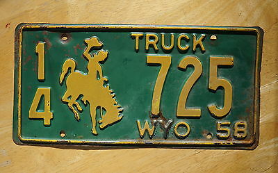1958 Wyoming Truck License Plate