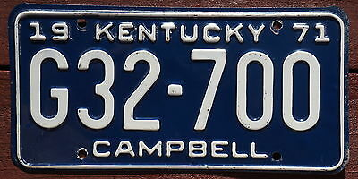 1971 Campbell County Kentucky License Plate