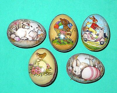 5 Vintage Easter Tin Eggs Candy Containers Switzerland Enesco