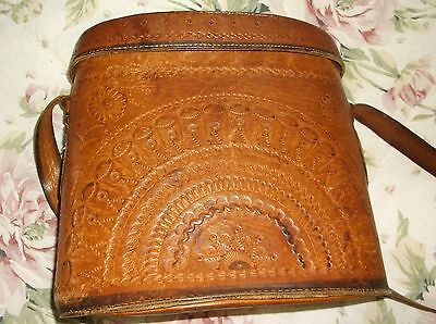Tooled Leather Large Binocular Case - Adjustable Shoulder Strap