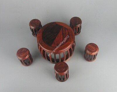 1 set red Suan-zhi wood rosewood Miniature China round table w 5 stand display