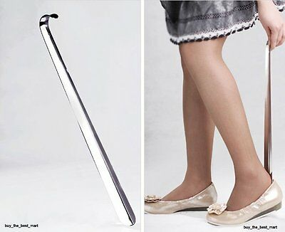 "16.5"" Inch (42cm) Long Shoe Horn Stainless Steel Silver Metal Shoes Remover Shoe"