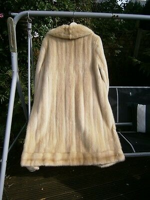 "Superb vtg 42"" long EMBA ROYAL quality PEARL mink fur full length coat, MINT!"