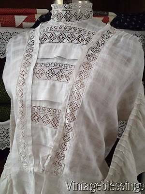 Antique Edwardian Girls' Dress 2 Piece ~ Lace Trimmed c1900