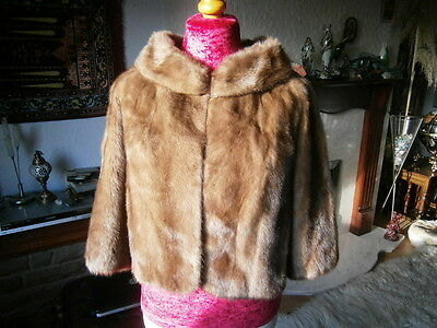 Stunning vtg AUTUMN HAZE mink fur bolero jacket, PORTRAIT COLLAR, silky & MINT!