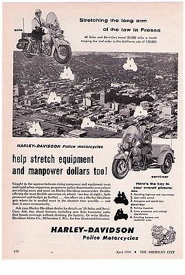 1959 Harley Davidson, 'Fresno, California' Force Police  Motorcycle Print Ad