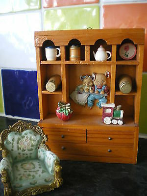 Vintage WELSH DRESSER (Doll's house/Wall hanging) + ORNAMENTS +free armchair Exc