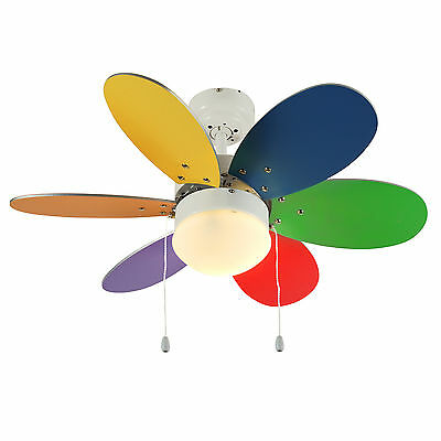 Modern White & Multi Coloured Reversible 6 Blade Funky Ceiling Fan with Light