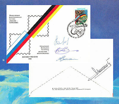 COSMONAUTS Signed by 3 on 1992 Russian cover Russia-Germany Joint Space Mission