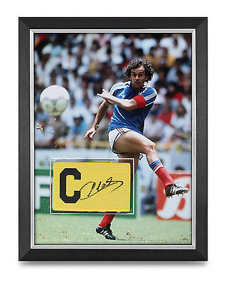 Michel Platini Signed Armband Photo Framed 16x12 France Autograph Memorabilia