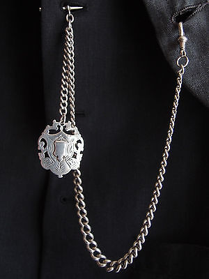 BIRM 1902 HEAVY SILVER ALBERT POCKET WATCH CHAIN SILVER DOUBLE SIDED FOB 52g