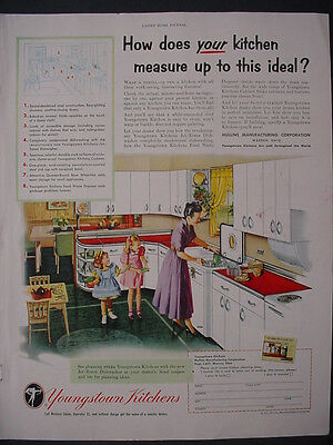 1951 Youngstown Kitchens Cabinets etc Mother Kids Vintage Print Ad 12259
