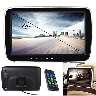 "10"" HD Digitl LCD Screen Car Headrest Monitor Slim USB/SD MP5 Player IR/FM Game"