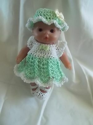 clothes fits 5 inch itty baby  4 piece outfit mint green and white