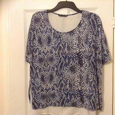 Marks and Spencer Collection Ladies Navy & White Short Sleeve Blouse Size 18