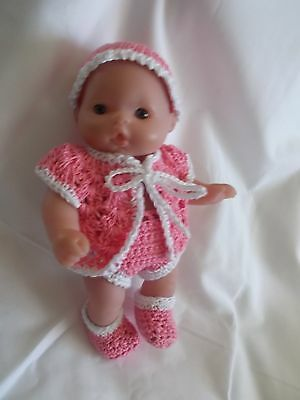 clothes fits 5 inch itty baby 3 piece pink and white outfit