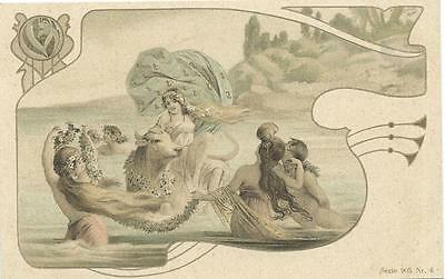 Art Nouveau  Sea Nymphs surround girl riding on a bull
