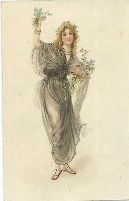 Lady with  forget-me-nots  Advert PC    Early Chromolitho