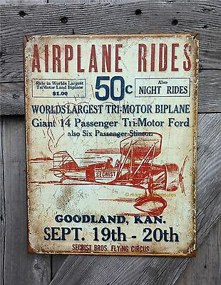 Airplane Biplane Rides Secrist Flying Circus Ford Tri-Motor Tin Metal Wall Sign