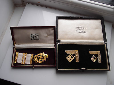 Five Items Masonic Job Lot Silver Past Master Royal Arch Jewels Toye Co Boxes