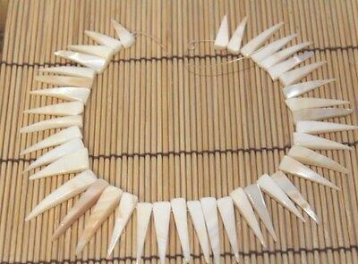 "20-35mm+ White Mother of Pearl Tusk Beads 12"" Strand"
