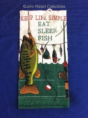 Kay Dee Eat Sleep Fish Kitchen Terry Towel Free Shipping Us Last One!
