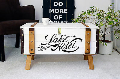 vintage pine trunk shabby chic coffee table antique storage blanket box chest a