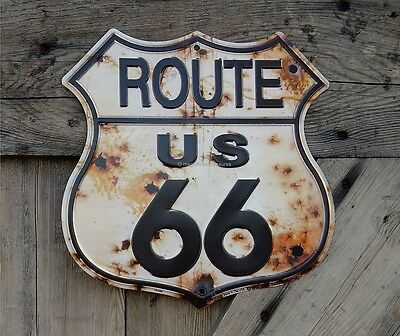 Route 66 Us Road Highway Shield Rust Bullet Holes Aluminum Metal Sign Wall Decor