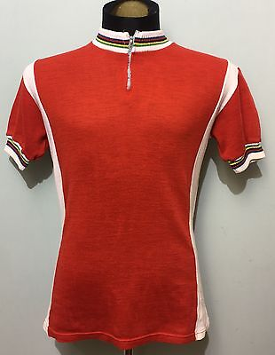 Vintage Wool Red And White Cycling Jersey Short Sleeved