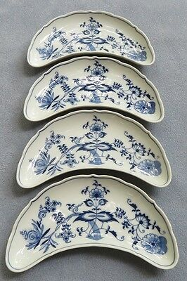FOUR  Blue Danube Crescent Shaped Salad Plates New Mark Japan
