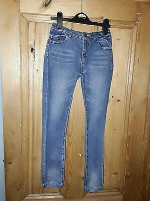 girls freespirit casual blue faded skinny jeans age 10 years